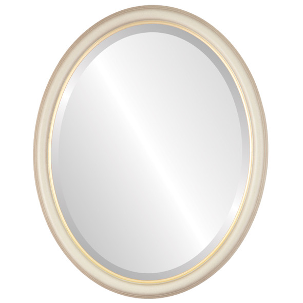 Beveled Mirror - Hamilton Oval Frame - Taupe with Gold Lip