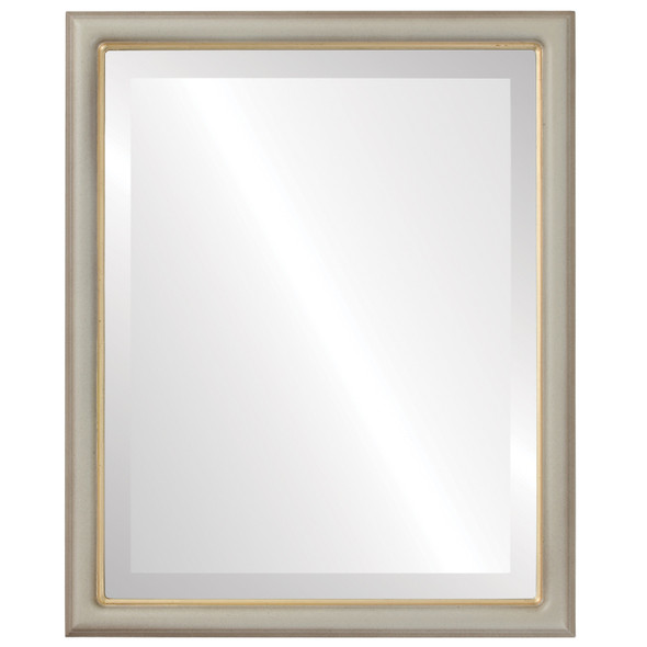 Beveled Mirror - Hamilton Rectangle Frame - Taupe with Gold Lip