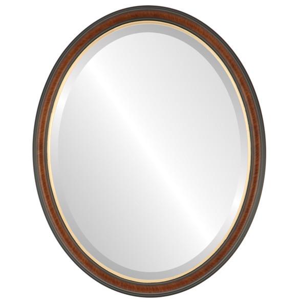 Beveled Mirror - Hamilton Oval Frame - Vintage Cherry with Gold Lip