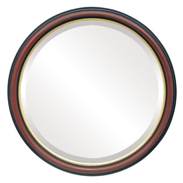 Beveled Mirror - Hamilton Round Frame - Vintage Cherry with Gold Lip