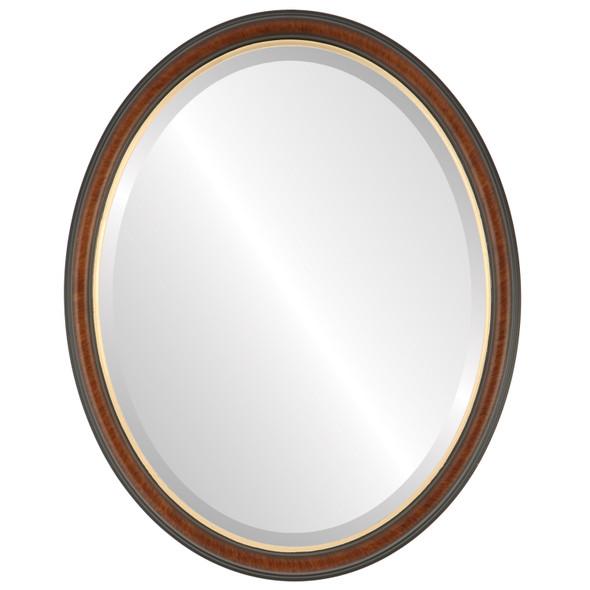 Beveled Mirror - Hamilton Oval Frame - Vintage Walnut with Gold Lip