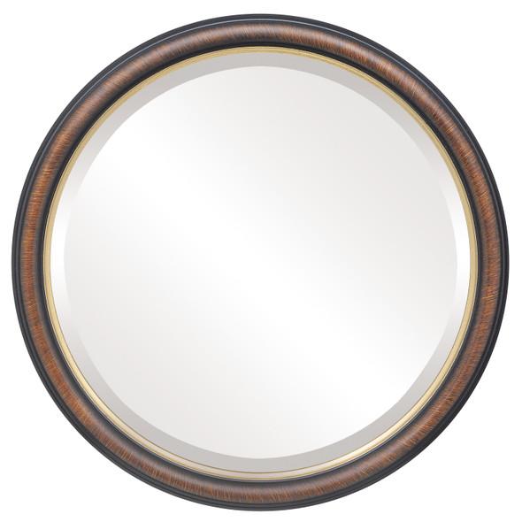 Beveled Mirror - Hamilton Round Frame - Vintage Walnut with Gold Lip