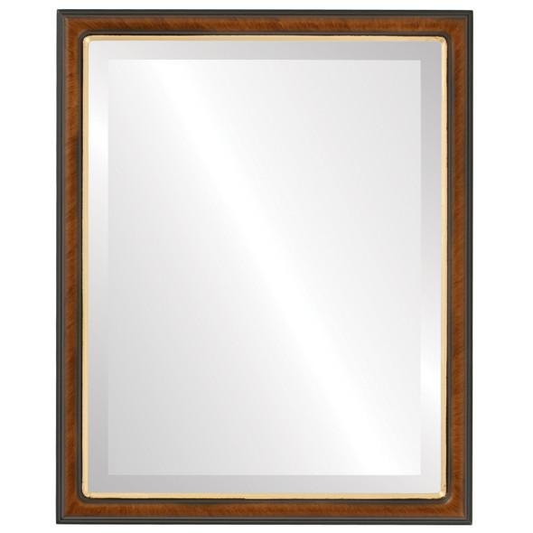 Beveled Mirror - Hamilton Rectangle Frame - Vintage Walnut with Gold Lip