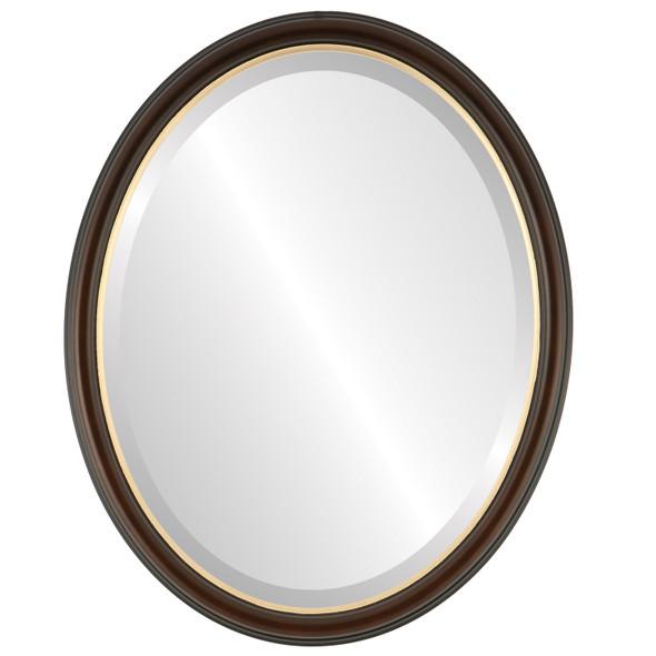 Beveled Mirror - Hamilton Oval Frame - Walnut with Gold Lip