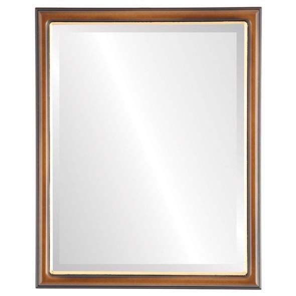 Beveled Mirror - Hamilton Rectangle Frame - Walnut with Gold Lip