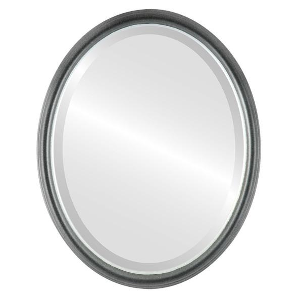 Beveled Mirror - Hamilton Oval Frame - Black Silver with Silver Lip