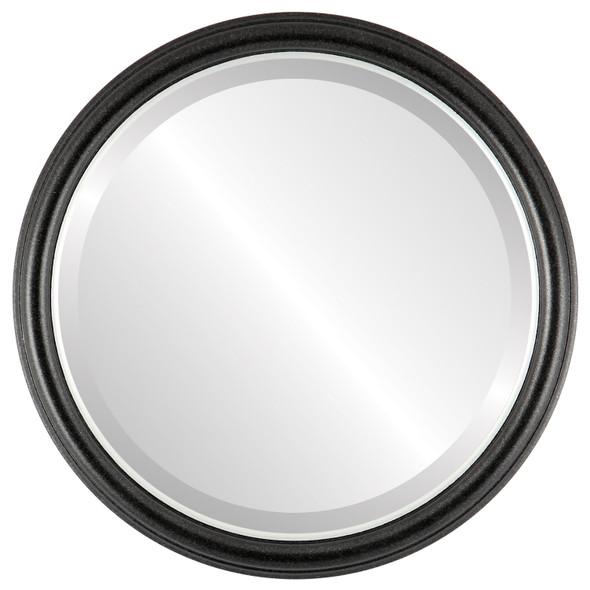 Beveled Mirror - Hamilton Round Frame - Black Silver with Silver Lip