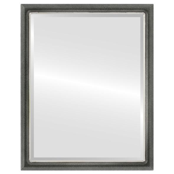 Beveled Mirror - Hamilton Rectangle Frame - Black Silver with Silver Lip
