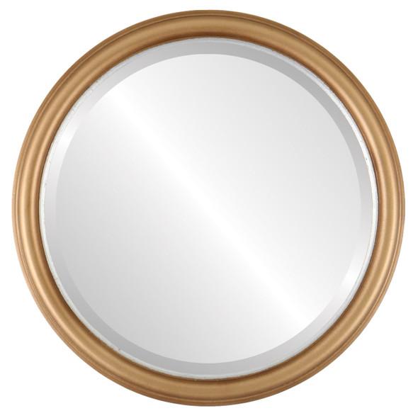 Beveled Mirror - Hamilton Round Frame - Desert Gold with Silver Lip