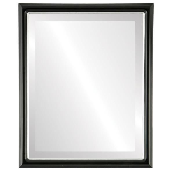 Beveled Mirror - Hamilton Rectangle Frame - Gloss Black with Silver Lip