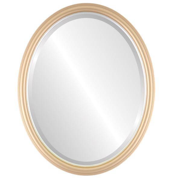 Beveled Mirror - Hamilton Oval Frame - Gold Spray with Silver Lip
