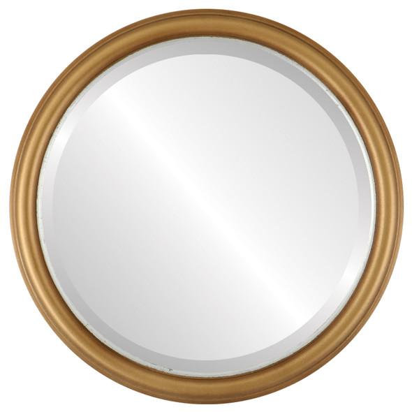 Beveled Mirror - Hamilton Round Frame - Gold Spray with Silver Lip