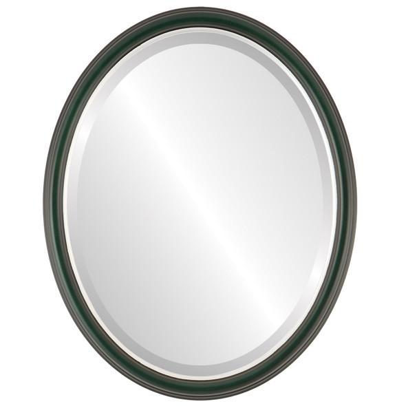 Beveled Mirror - Hamilton Oval Frame - Hunter Green with Silver Lip