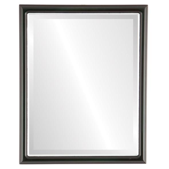 Beveled Mirror - Hamilton Rectangle Frame - Hunter Green with Silver Lip