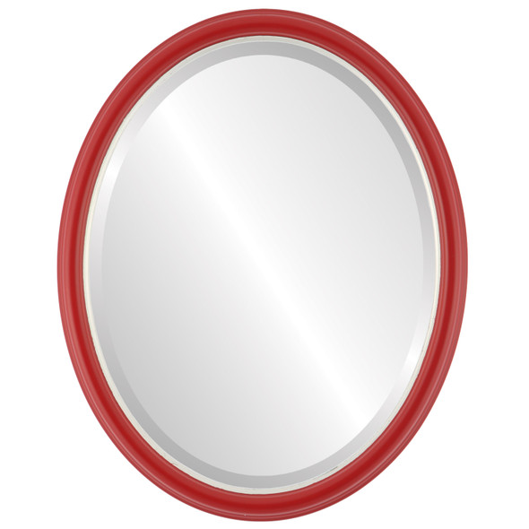 Beveled Mirror - Hamilton Oval Frame - Holiday Red with Silver Lip