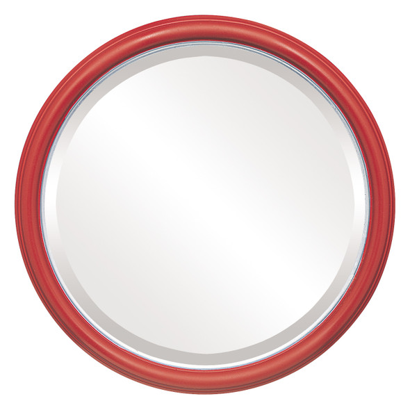 Beveled Mirror - Hamilton Round Frame - Holiday Red with Silver Lip