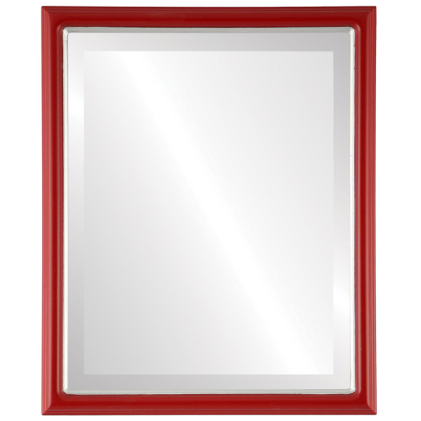 Beveled Mirror - Hamilton Rectangle Frame - Holiday Red with Silver Lip