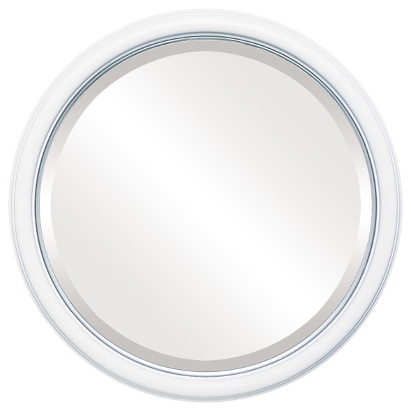 Beveled Mirror - Hamilton Round Frame - Linen White with Silver Lip