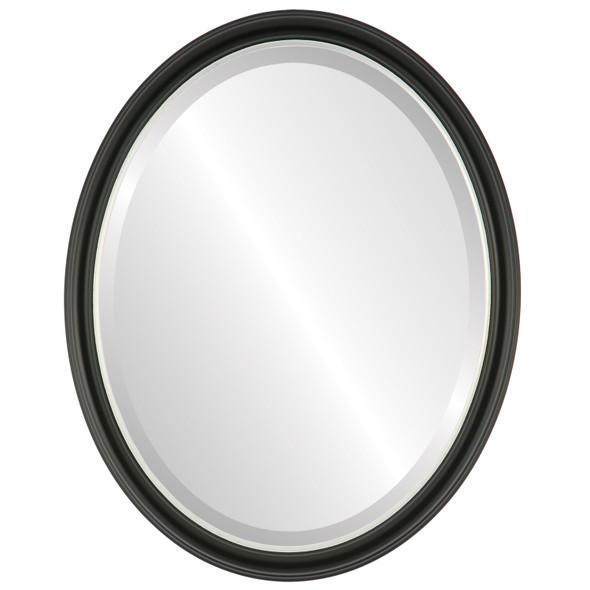 Beveled Mirror - Hamilton Oval Frame - Matte Black with Silver Lip