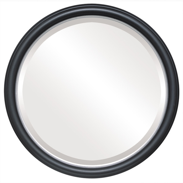 Beveled Mirror - Hamilton Round Frame - Matte Black with Silver Lip