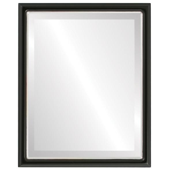 Beveled Mirror - Hamilton Rectangle Frame - Matte Black with Silver Lip