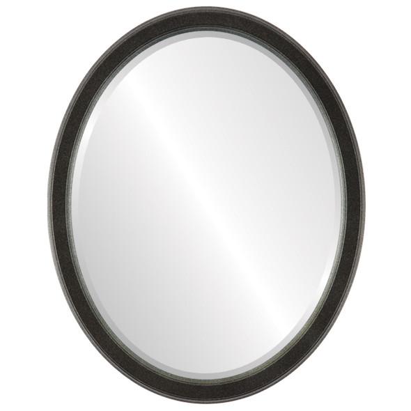Beveled Mirror - Toronto Oval Frame - Black Silver