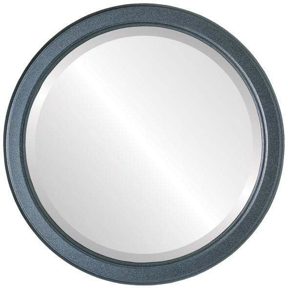 Beveled Mirror - Toronto Round Frame - Black Silver