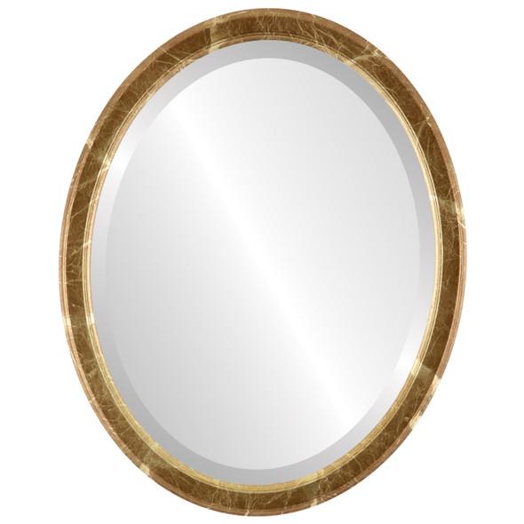 Beveled Mirror - Toronto Oval Frame - Champagne Gold