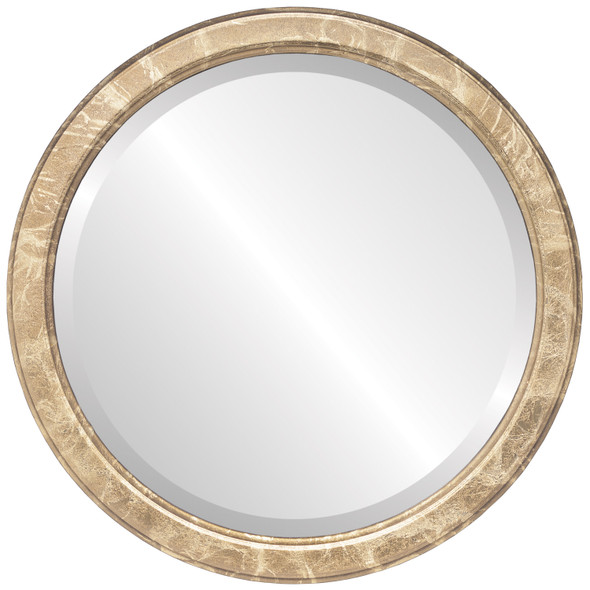 Beveled Mirror - Toronto Round Frame - Champagne Gold