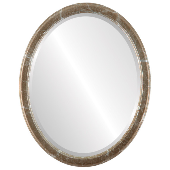 Beveled Mirror - Toronto Oval Frame - Champagne Silver