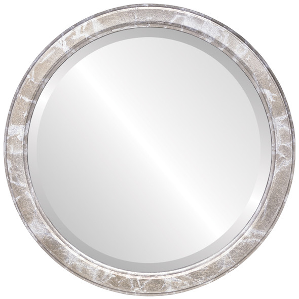 Beveled Mirror - Toronto Round Frame - Champagne Silver