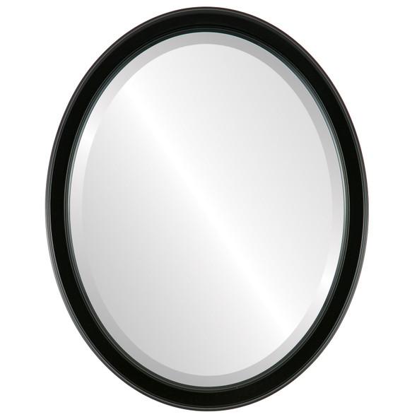 Beveled Mirror - Toronto Oval Frame - Gloss Black