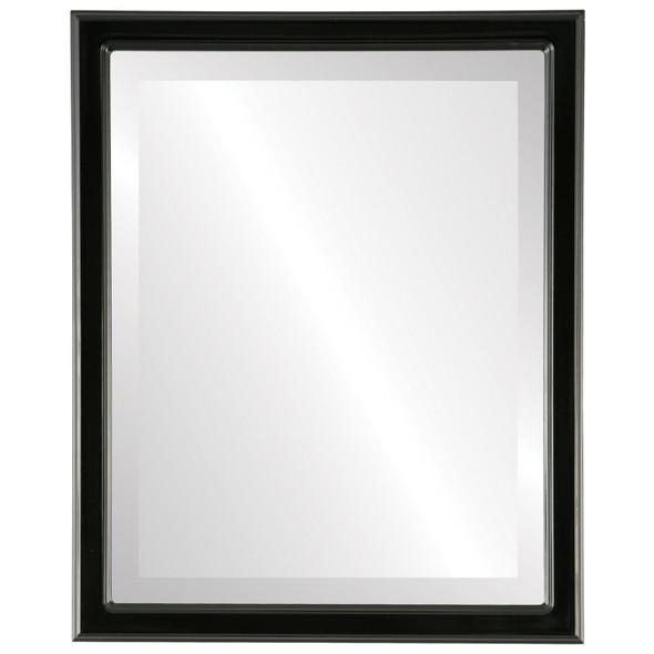 Beveled Mirror - Toronto Rectangle Frame - Gloss Black