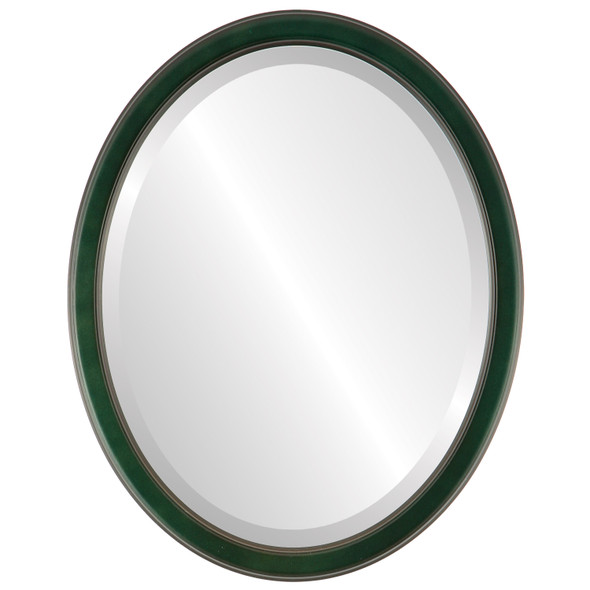 Beveled Mirror - Toronto Oval Frame - Hunter Green