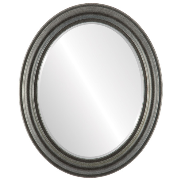 Beveled Mirror - Philadelphia Oval Frame - Black Silver