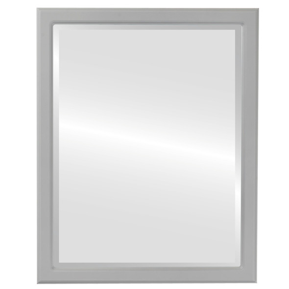 Beveled Mirror - Toronto Rectangle Frame - Linen White