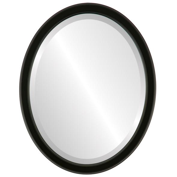 Beveled Mirror - Toronto Oval Frame - Matte Black