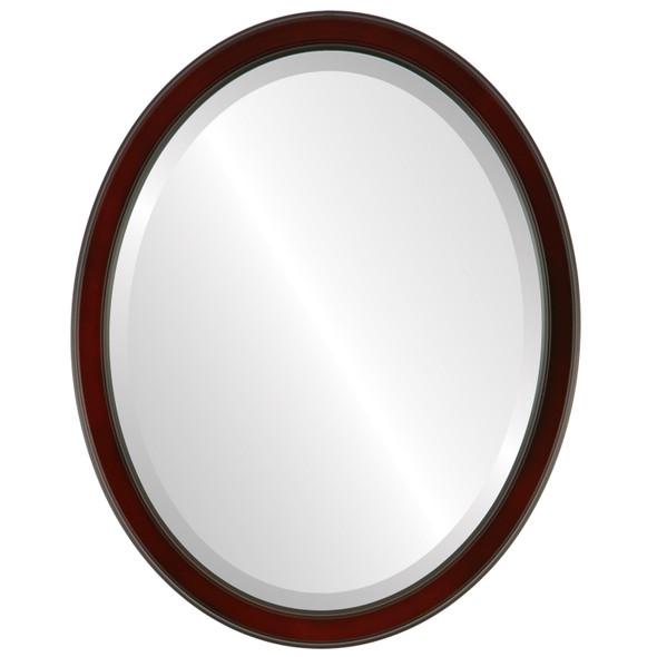 Beveled Mirror - Toronto Oval Frame - Rosewood