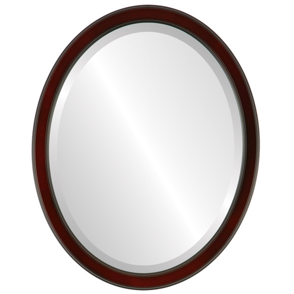 Beveled Mirror - Toronto Oval Frame - Rosewood