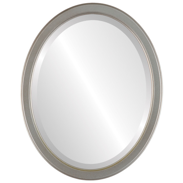 Beveled Mirror - Toronto Oval Frame - Silver Shade