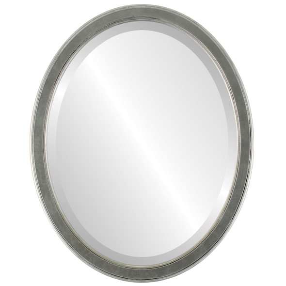 Beveled Mirror - Toronto Oval Frame - Silver Leaf with Black Antique