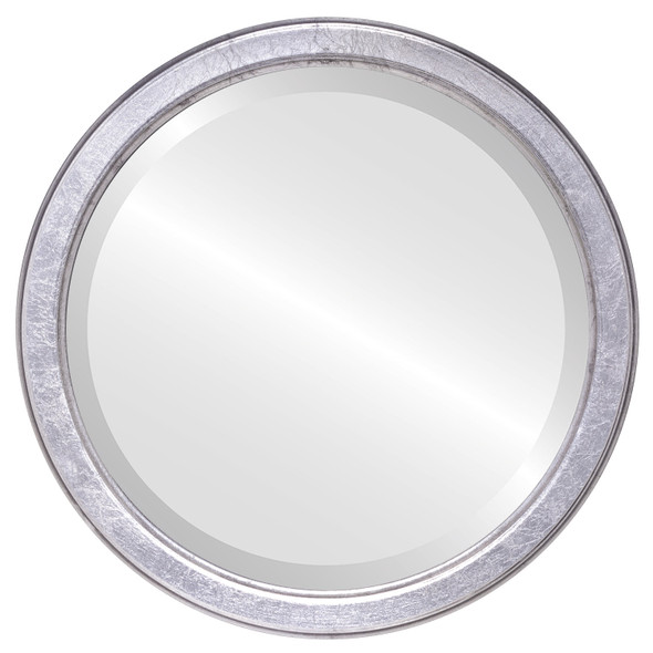 Beveled Mirror - Toronto Round Frame - Silver Leaf with Black Antique