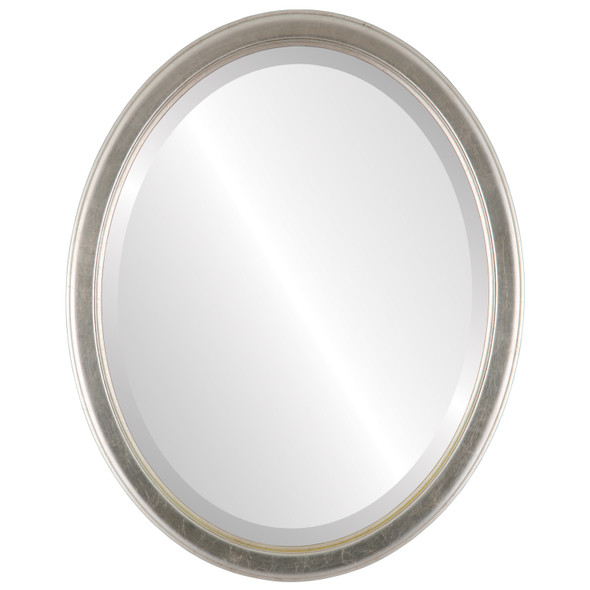 Beveled Mirror - Toronto Oval Frame - Silver Leaf with Brown Antique
