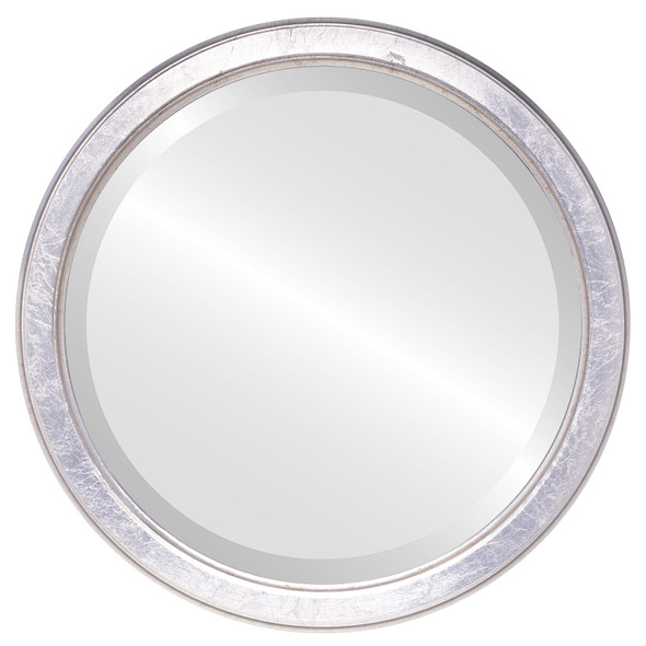 Beveled Mirror - Toronto Round Frame - Silver Leaf with Brown Antique