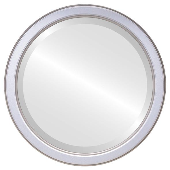 Beveled Mirror - Toronto Round Frame - Silver Spray