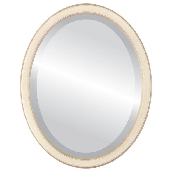 Beveled Mirror - Toronto Oval Frame - Taupe