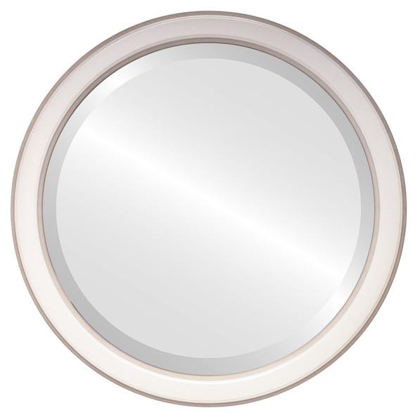 Beveled Mirror - Toronto Round Frame - Taupe
