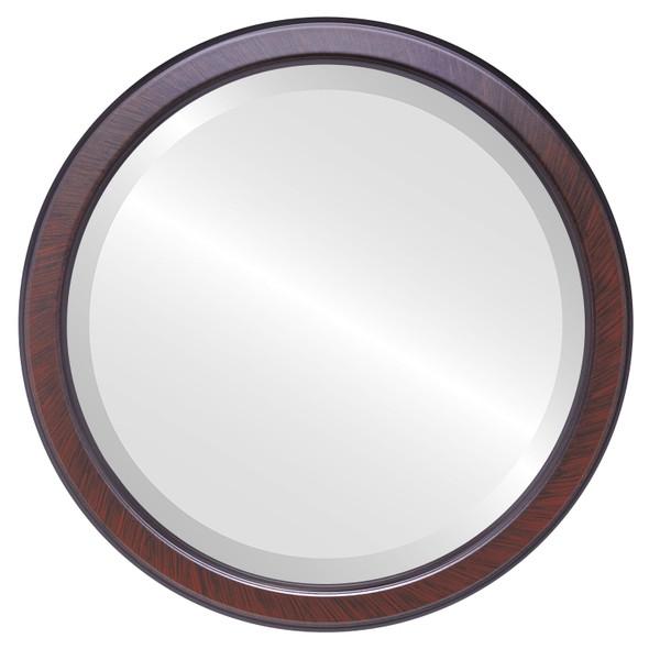Beveled Mirror - Toronto Round Frame - Vintage Cherry