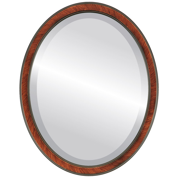 Beveled Mirror - Toronto Oval Frame - Vintage Walnut
