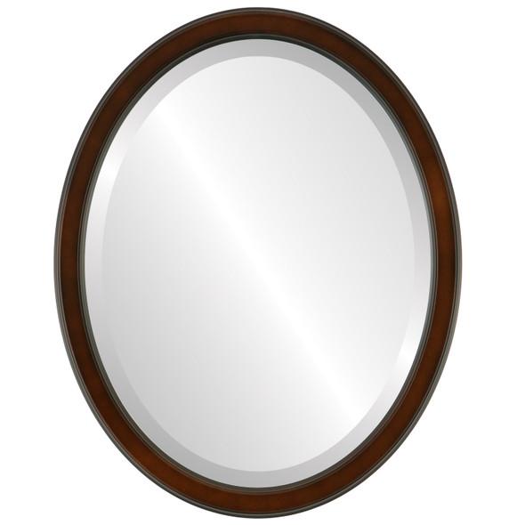 Beveled Mirror - Toronto Oval Frame - Walnut